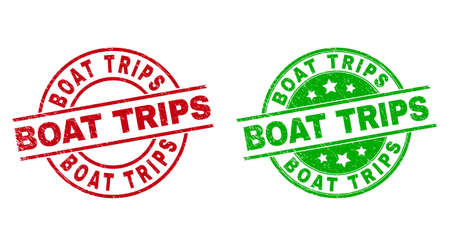 Round BOAT TRIPS watermarks. Flat vector textured stamps with BOAT TRIPS message inside circle and lines, using red and green colors. Watermarks with distress texture.