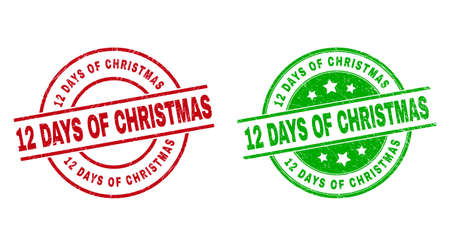 Round 12 DAYS OF CHRISTMAS watermarks. Flat vector distress seal stamps with 12 DAYS OF CHRISTMAS text inside circle and lines, in red and green colors. Watermarks with unclean surface.
