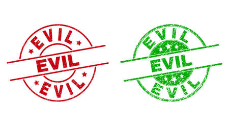 Round EVIL stamp badges. Flat vector distress stamp watermarks with EVIL phrase inside circle and lines, using red and green colors. Stamp imprints with corroded style. Vektoros illusztráció