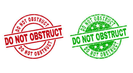 Round DO NOT OBSTRUCT stamp badges. Flat vector distress stamp watermarks with DO NOT OBSTRUCT title inside circle and lines, using red and green colors. Watermarks with distress style.