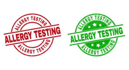 Round ALLERGY TESTING stamp badges. Flat vector textured stamp watermarks with ALLERGY TESTING text inside circle and lines, in red and green colors. Stamp imprints with grunged texture.