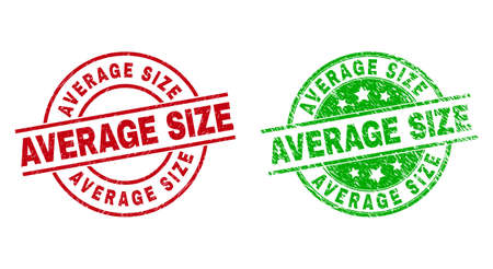 Round AVERAGE SIZE stamp badges. Flat vector textured stamp watermarks with AVERAGE SIZE text inside circle and lines, in red and green colors. Stamp imprints with corroded style.