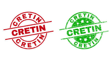 Round CRETIN seal stamps. Flat vector textured seal stamps with CRETIN message inside circle and lines, using red and green colors. Stamp imprints with scratched surface.