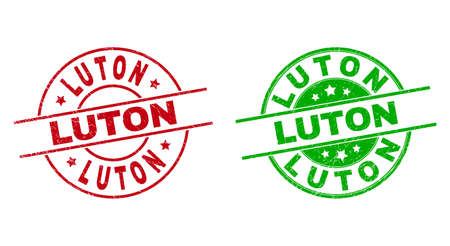 Round LUTON seal stamps. Flat vector scratched seal stamps with LUTON text inside circle and lines, in red and green colors. Rubber imitations with grunge texture.