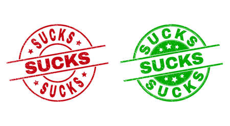 Round SUCKS watermarks. Flat vector distress stamp watermarks with SUCKS title inside circle and lines, using red and green colors. Watermarks with corroded surface. Vektorgrafik