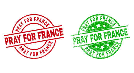 Round PRAY FOR FRANCE stamp badges. Flat vector grunge stamp watermarks with PRAY FOR FRANCE caption inside circle and lines, in red and green colors. Watermarks with grunged surface. Vector Illustration