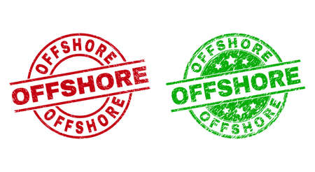 Round OFFSHORE badge stamps. Flat vector grunge seal stamps with OFFSHORE text inside circle and lines, in red and green colors. Stamp imprints with grunge surface.