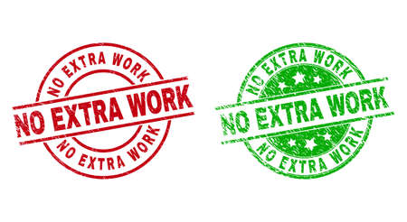 Round NO EXTRA WORK seals. Flat vector textured seals with NO EXTRA WORK message inside circle and lines, in red and green colors. Stamp imprints with unclean texture.