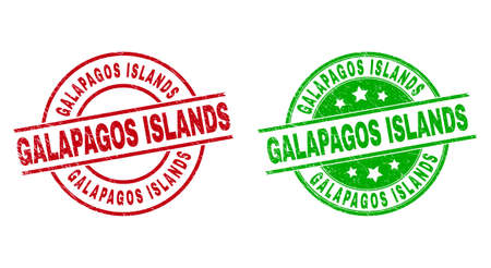 Round GALAPAGOS ISLANDS seals. Flat vector scratched seals with GALAPAGOS ISLANDS phrase inside circle and lines, using red and green colors. Rubber imitations with scratched texture.