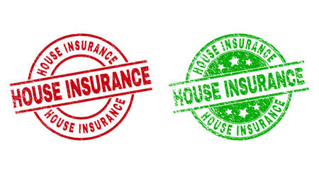 Round HOUSE INSURANCE seal stamps. Flat vector scratched stamps with HOUSE INSURANCE caption inside circle and lines, using red and green colors. Rubber imitations with grunge texture. Ilustración de vector
