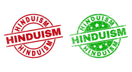 HINDUISM Round Stamps Using Grunged Surface