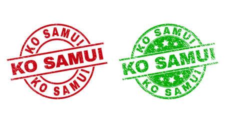 KO SAMUI Round Stamp Seals Using Scratched Texture Ilustracje wektorowe