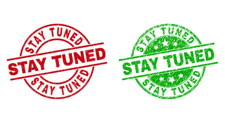 STAY TUNED Round Stamps with Corroded Style