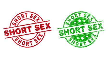 SHORT SEX Round Watermarks with Distress Texture Vektorgrafik