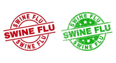 SWINE FLU Round Stamp Seals Using Grunge Surface