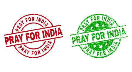 PRAY FOR INDIA Round Stamp Seals with Unclean Texture