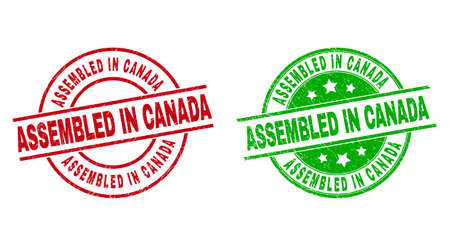ASSEMBLED IN CANADA Round Badges Using Distress Style Vector Illustration
