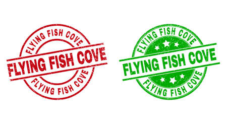 Round FLYING FISH COVE stamp badges. Flat vector scratched stamp watermarks with FLYING FISH COVE title inside circle and lines, using red and green colors. Watermarks with grunged surface.