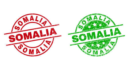 Round SOMALIA stamps. Flat vector distress stamps with SOMALIA message inside circle and lines, in red and green colors. Stamp imprints with distress style.  イラスト・ベクター素材