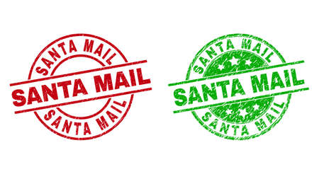 Round SANTA MAIL stamp badges. Flat vector scratched badges with SANTA MAIL caption inside circle and lines, using red and green colors. Rubber imitations with scratched texture.  イラスト・ベクター素材