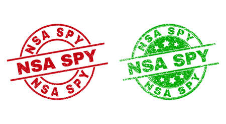 Round NSA SPY seals. Flat vector scratched seals with NSA SPY text inside circle and lines, using red and green colors. Stamp imprints with scratched surface.