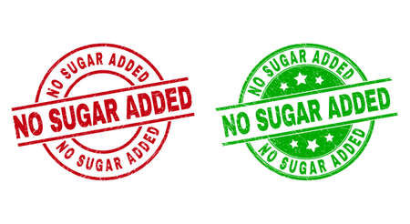 Round NO SUGAR ADDED seals. Flat vector grunge seals with NO SUGAR ADDED text inside circle and lines, in red and green colors. Stamp imprints with unclean texture.