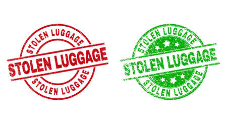 Round STOLEN LUGGAGE watermarks. Flat vector scratched stamp watermarks with STOLEN LUGGAGE phrase inside circle and lines, in red and green colors. Watermarks with distress surface.