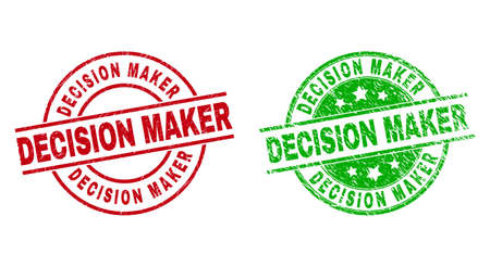 Round DECISION MAKER seal stamps. Flat vector textured seal stamps with DECISION MAKER title inside circle and lines, using red and green colors. Watermarks with corroded surface. Vektoros illusztráció
