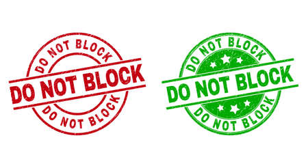 Round DO NOT BLOCK stamp badges. Flat vector distress badges with DO NOT BLOCK title inside circle and lines, using red and green colors. Rubber imitations with distress style.