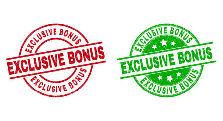 Round EXCLUSIVE BONUS stamp badges. Flat vector distress seal stamps with EXCLUSIVE BONUS text inside circle and lines, in red and green colors. Stamp imprints with corroded texture. Ilustración de vector