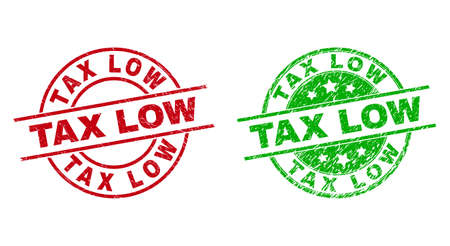 Round TAX LOW watermarks. Flat vector scratched stamp watermarks with TAX LOW title inside circle and lines, in red and green colors. Stamp imprints with unclean style.