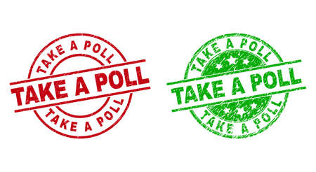 Round TAKE A POLL stamp badges. Flat vector scratched stamp watermarks with TAKE A POLL phrase inside circle and lines, in red and green colors. Watermarks with unclean surface.
