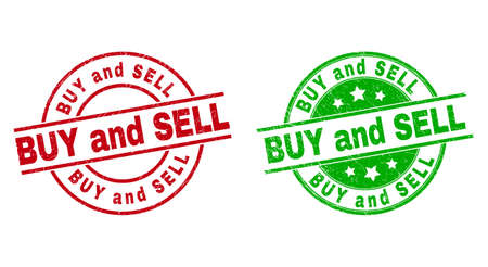 Round BUY AND SELL stamp badges. Flat vector scratched badges with BUY AND SELL caption inside circle and lines, using red and green colors. Stamp imprints with grunge style.