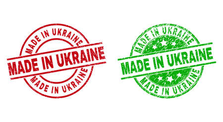Round MADE IN UKRAINE watermarks. Flat vector textured stamp watermarks with MADE IN UKRAINE message inside circle and lines, in red and green colors. Stamp imprints with scratched texture.