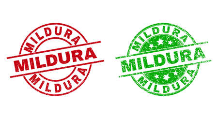 Round MILDURA stamp badges. Flat vector grunge badges with MILDURA phrase inside circle and lines, in red and green colors. Stamp imprints with grunge surface.  イラスト・ベクター素材