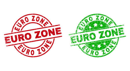 Round EURO ZONE stamps. Flat vector scratched seal stamps with EURO ZONE title inside circle and lines, using red and green colors. Rubber imitations with scratched style.