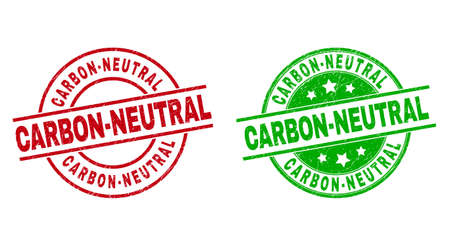 Round CARBON-NEUTRAL seals. Flat vector grunge stamp watermarks with CARBON-NEUTRAL phrase inside circle and lines, in red and green colors. Watermarks with scratched style.