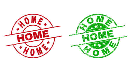 Round HOME watermarks. Flat vector distress stamp watermarks with HOME title inside circle and lines, in red and green colors. Stamp imprints with grunged surface.
