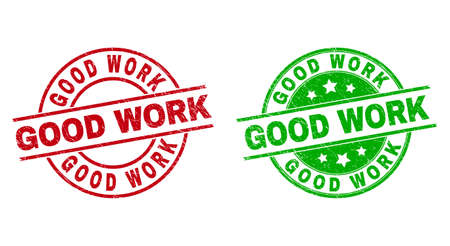 Round GOOD WORK stamp badges. Flat vector textured seals with GOOD WORK title inside circle and lines, in red and green colors. Stamp imprints with corroded surface.  イラスト・ベクター素材