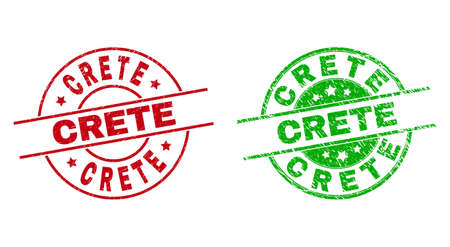 Round CRETE seals. Flat vector distress seals with CRETE caption inside circle and lines, using red and green colors. Watermarks with distress style.