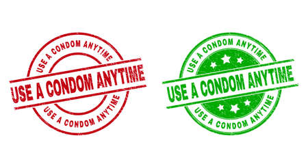 Round USE A CONDOM ANYTIME stamp badges. Flat vector grunge stamp watermarks with USE A CONDOM ANYTIME phrase inside circle and lines, using red and green colors. Watermarks with grunged style.