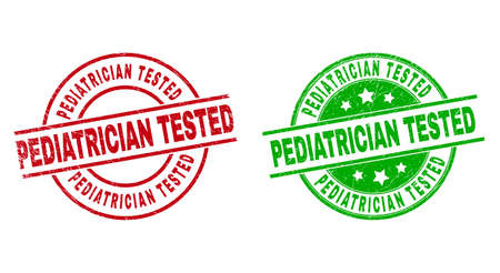 Round PEDIATRICIAN TESTED watermarks. Flat vector scratched stamps with PEDIATRICIAN TESTED title inside circle and lines, in red and green colors. Watermarks with scratched texture.