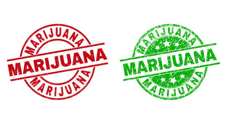 Round MARIJUANA watermarks. Flat vector textured stamp watermarks with MARIJUANA caption inside circle and lines, in red and green colors. Watermarks with grunge texture.  イラスト・ベクター素材