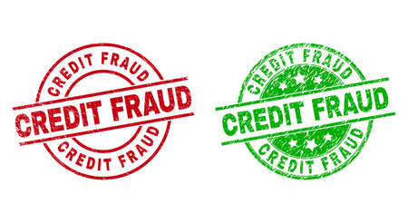 Round CREDIT FRAUD badge stamps. Flat vector distress stamps with CREDIT FRAUD caption inside circle and lines, in red and green colors. Watermarks with distress style.
