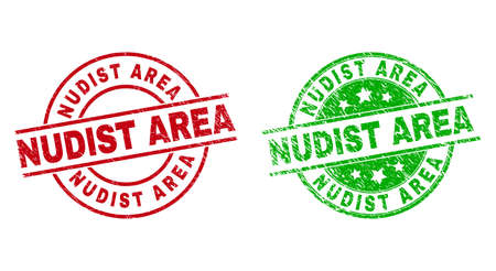 Round NUDIST AREA watermarks. Flat vector distress stamp watermarks with NUDIST AREA text inside circle and lines, using red and green colors. Stamp imprints with grunge style.