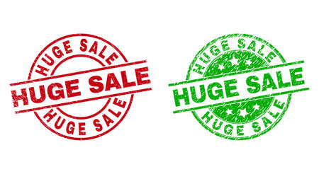 Round HUGE SALE watermarks. Flat vector scratched stamps with HUGE SALE phrase inside circle and lines, in red and green colors. Watermarks with scratched surface.  イラスト・ベクター素材