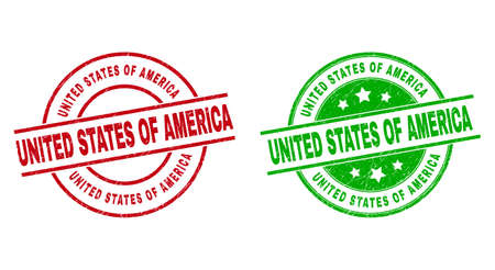 Round UNITED STATES OF AMERICA watermarks. Flat vector textured stamp watermarks with UNITED STATES OF AMERICA message inside circle and lines, in red and green colors.  イラスト・ベクター素材