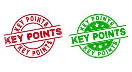 Round KEY POINTS badge stamps. Flat vector scratched stamps with KEY POINTS caption inside circle and lines, using red and green colors. Rubber imitations with scratched texture.  イラスト・ベクター素材