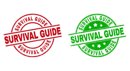 Round SURVIVAL GUIDE badge stamps. Flat vector grunge stamp watermarks with SURVIVAL GUIDE title inside circle and lines, using red and green colors. Watermarks with scratched surface.