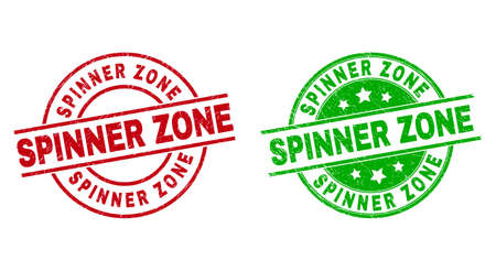 Round SPINNER ZONE seals. Flat vector grunge stamp watermarks with SPINNER ZONE message inside circle and lines, using red and green colors. Stamp imprints with grunge surface.